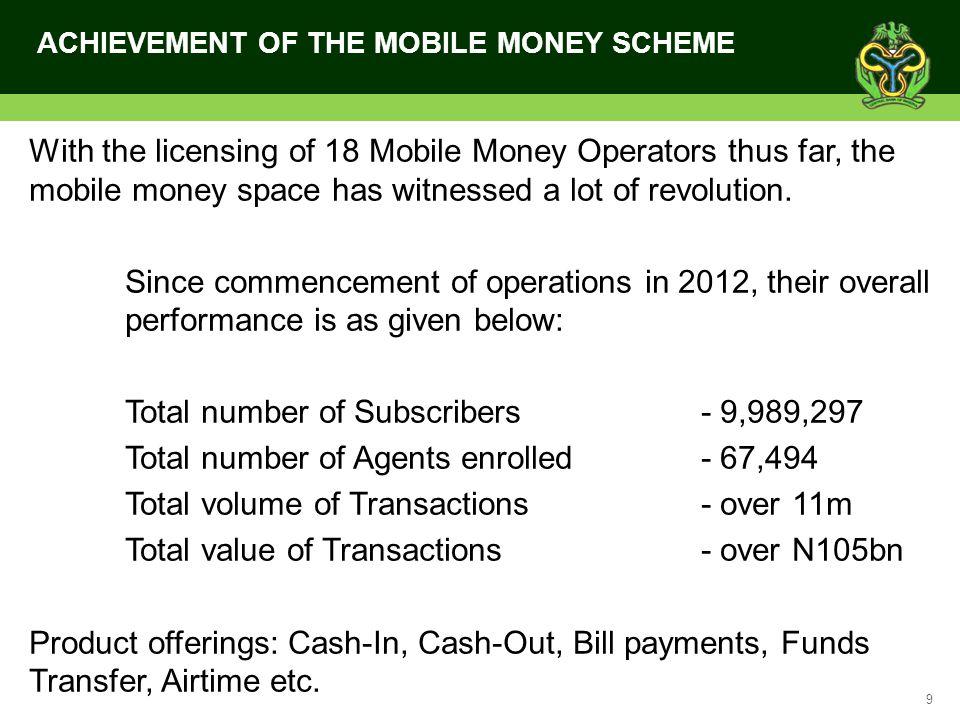 ACHIEVEMENT OF THE MOBILE MONEY SCHEME