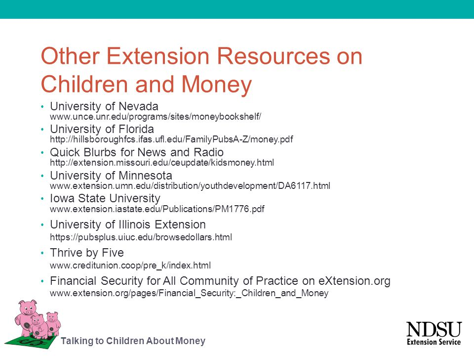 Other Extension Resources on Children and Money