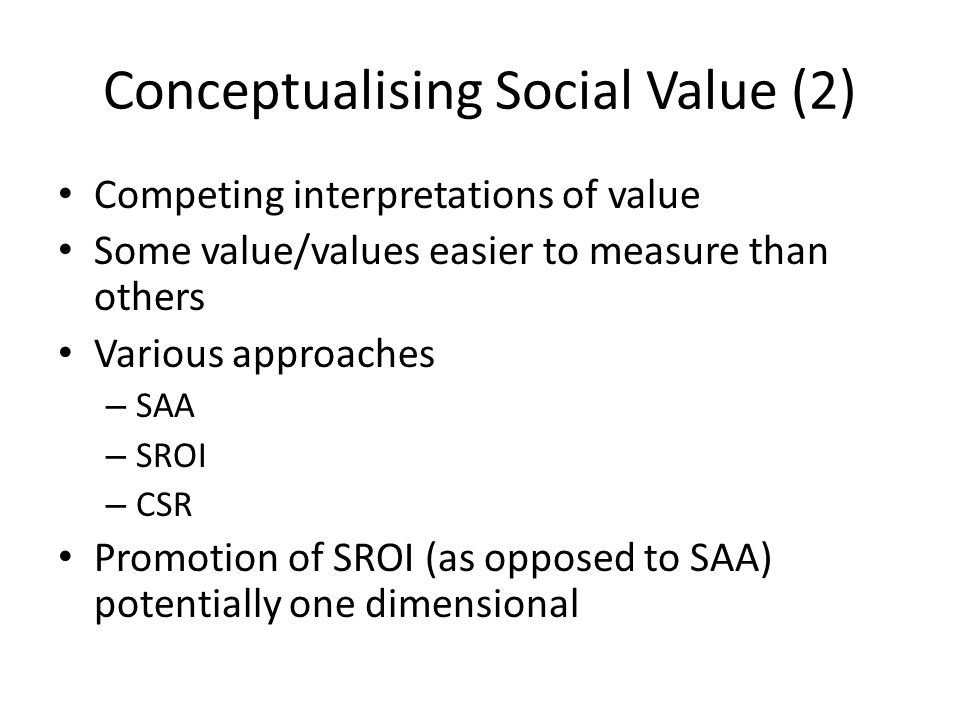Conceptualising Social Value (2)