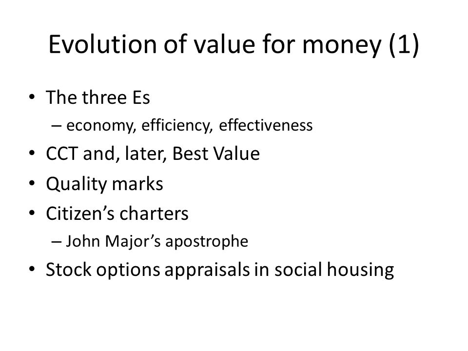 Evolution of value for money (1)