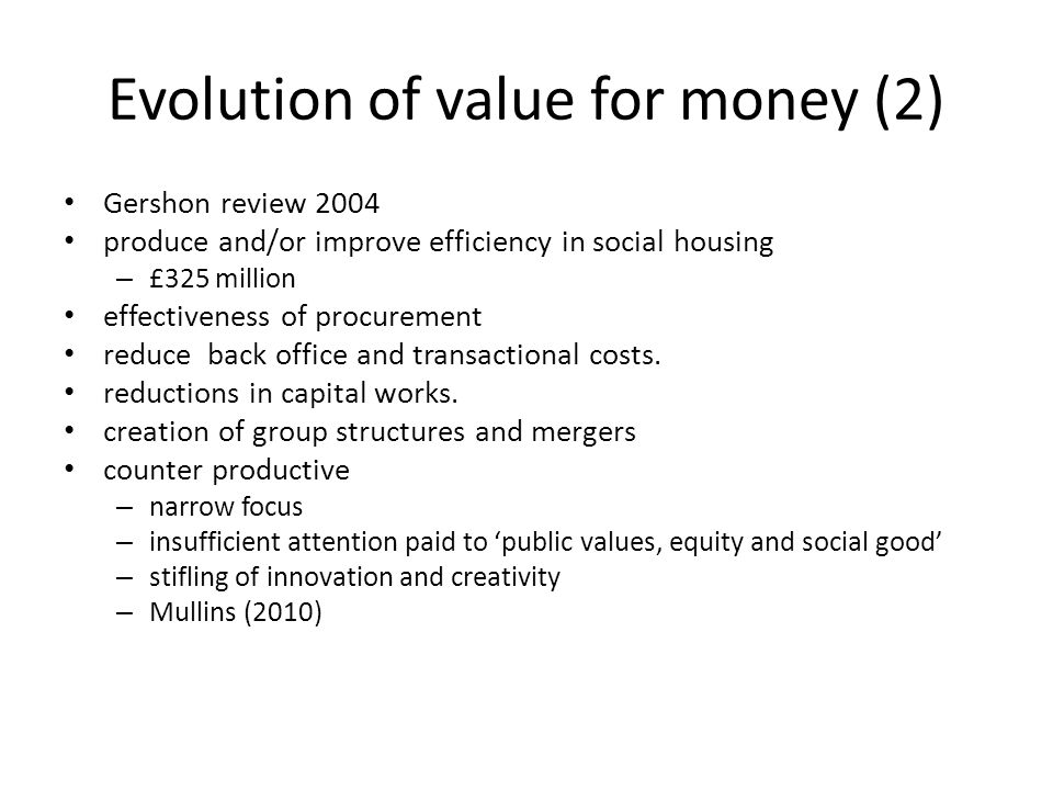 Evolution of value for money (2)