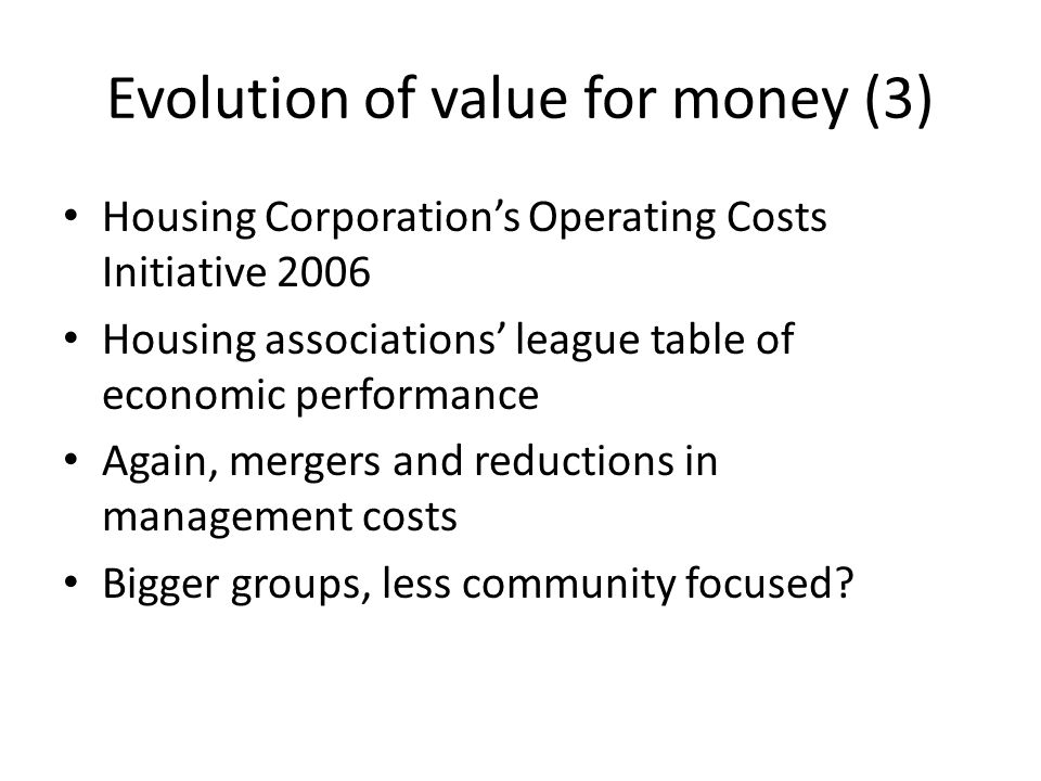 Evolution of value for money (3)