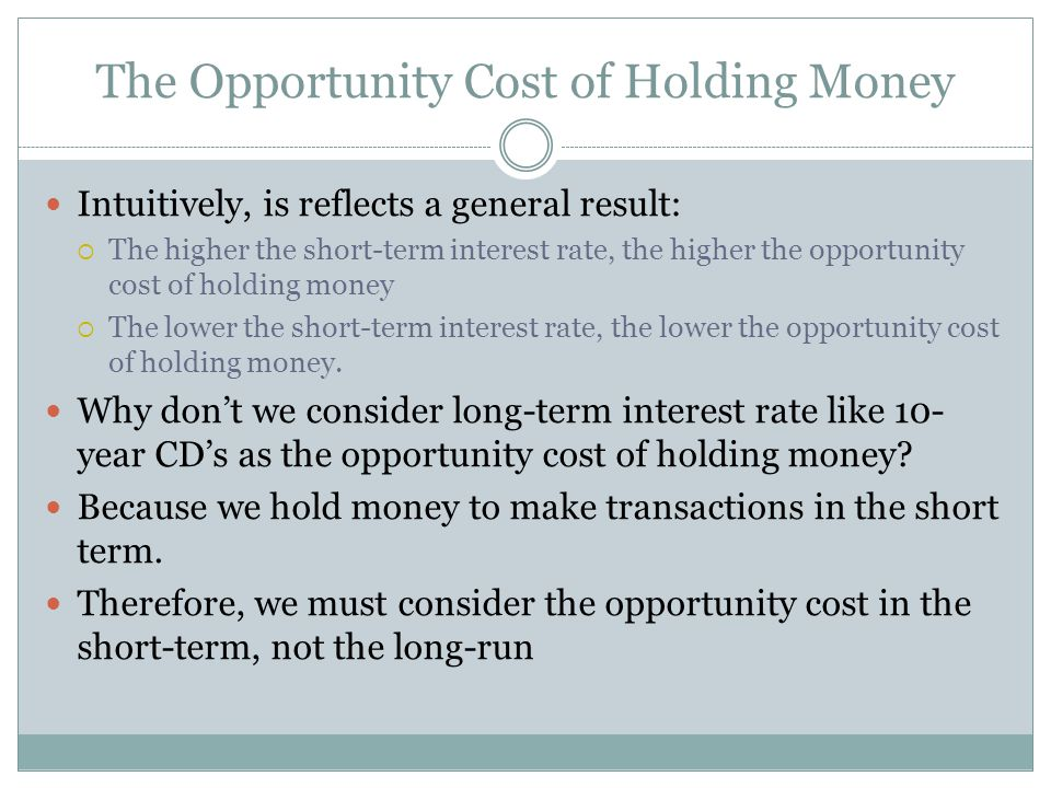 The Opportunity Cost of Holding Money