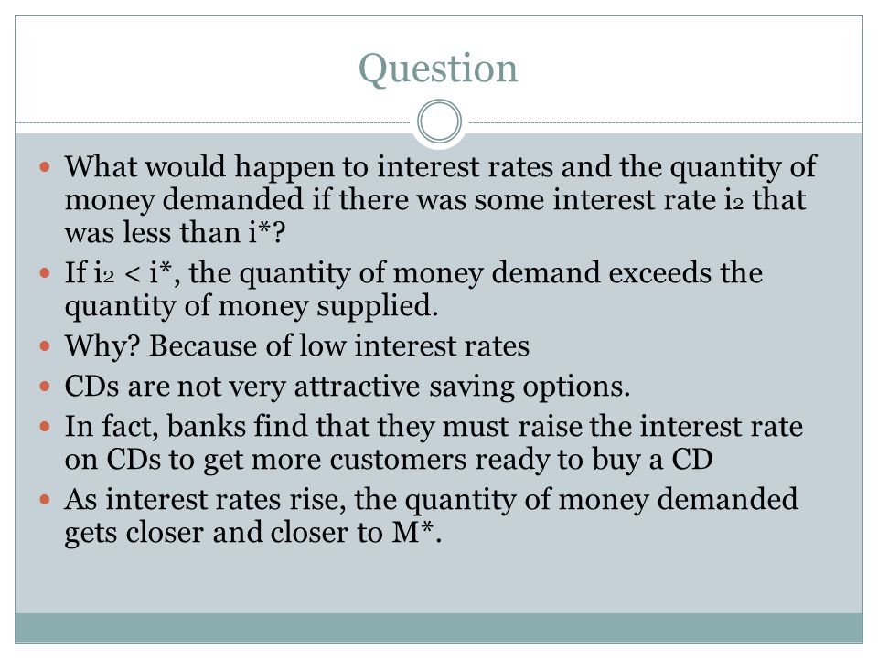 Question What would happen to interest rates and the quantity of money demanded if there was some interest rate i2 that was less than i*