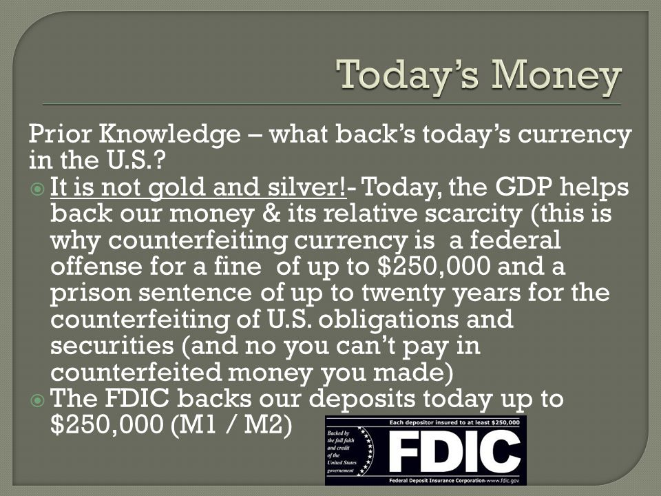 Today's Money Prior Knowledge – what back's today's currency in the U.S.