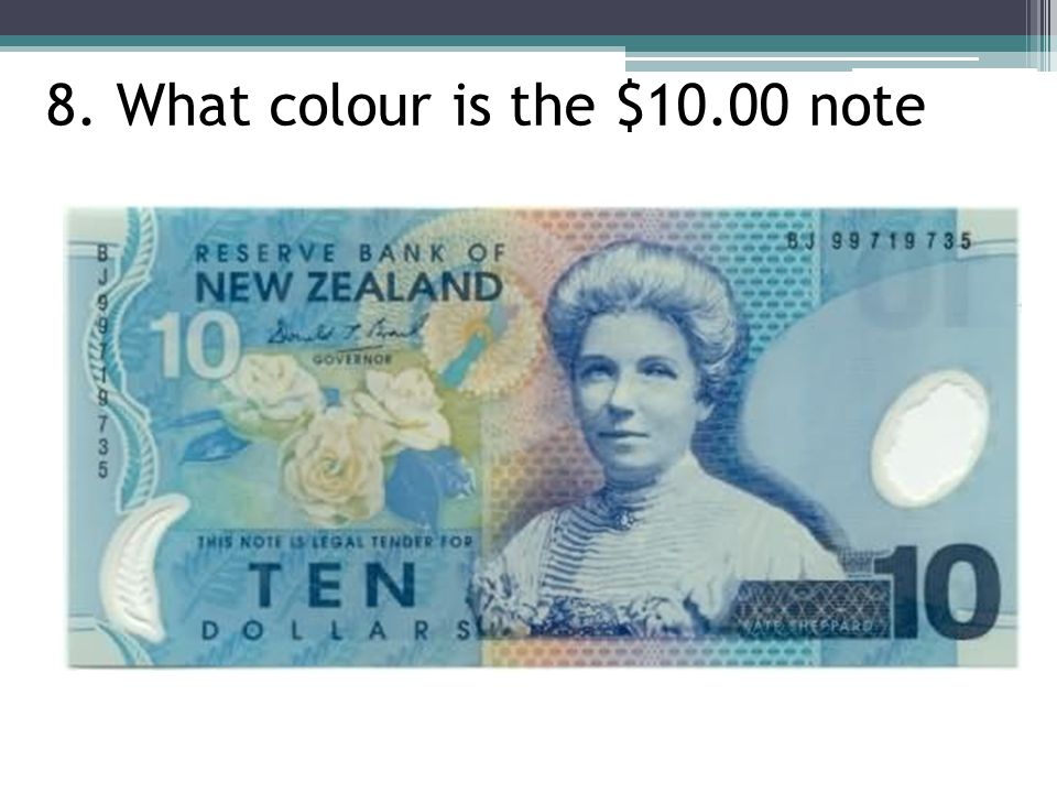 8. What colour is the $10.00 note