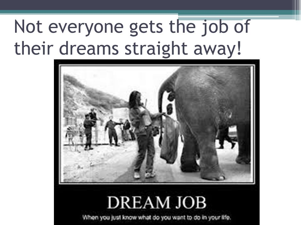 Not everyone gets the job of their dreams straight away!