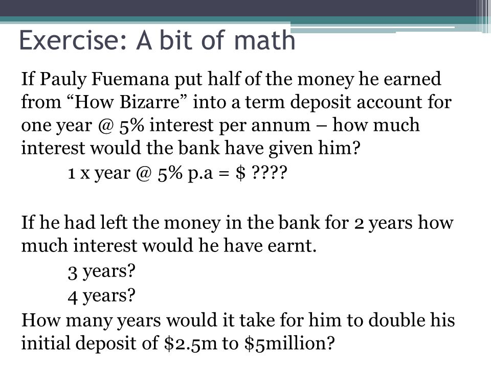 Exercise: A bit of math