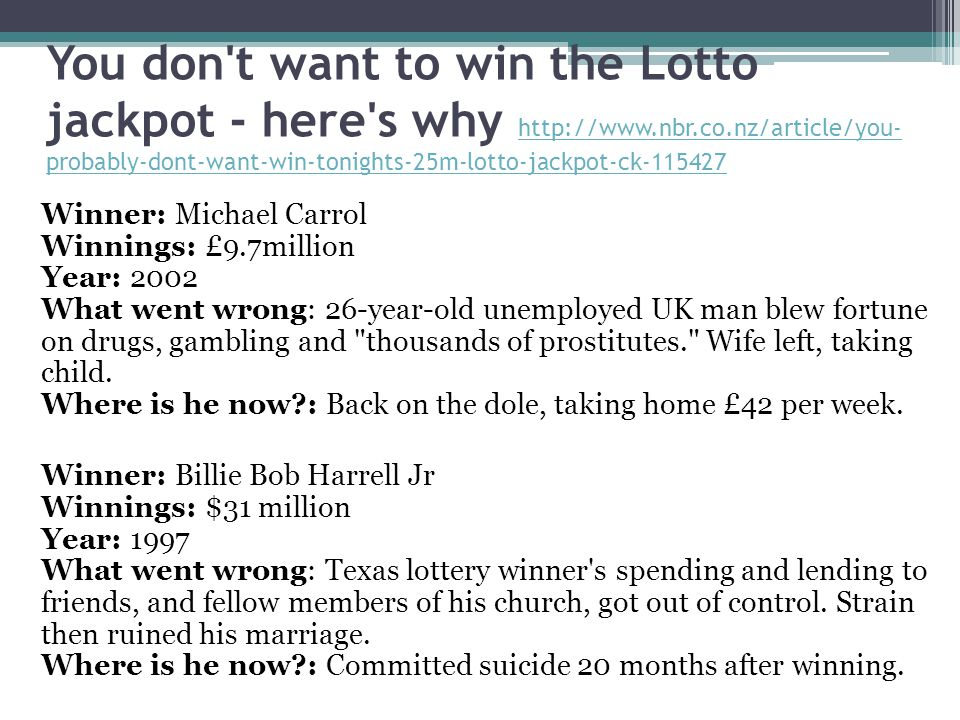 You don t want to win the Lotto jackpot - here s why http://www. nbr