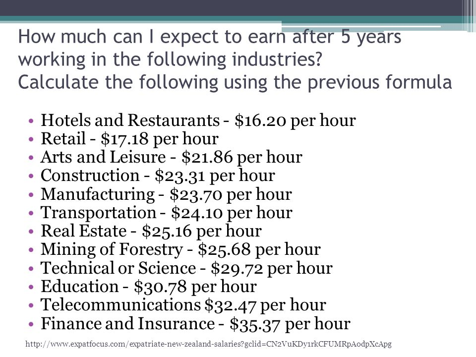 How much can I expect to earn after 5 years working in the following industries Calculate the following using the previous formula