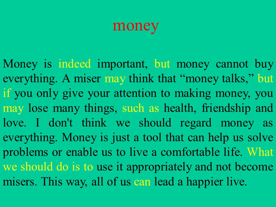 Essay on money can buy anything