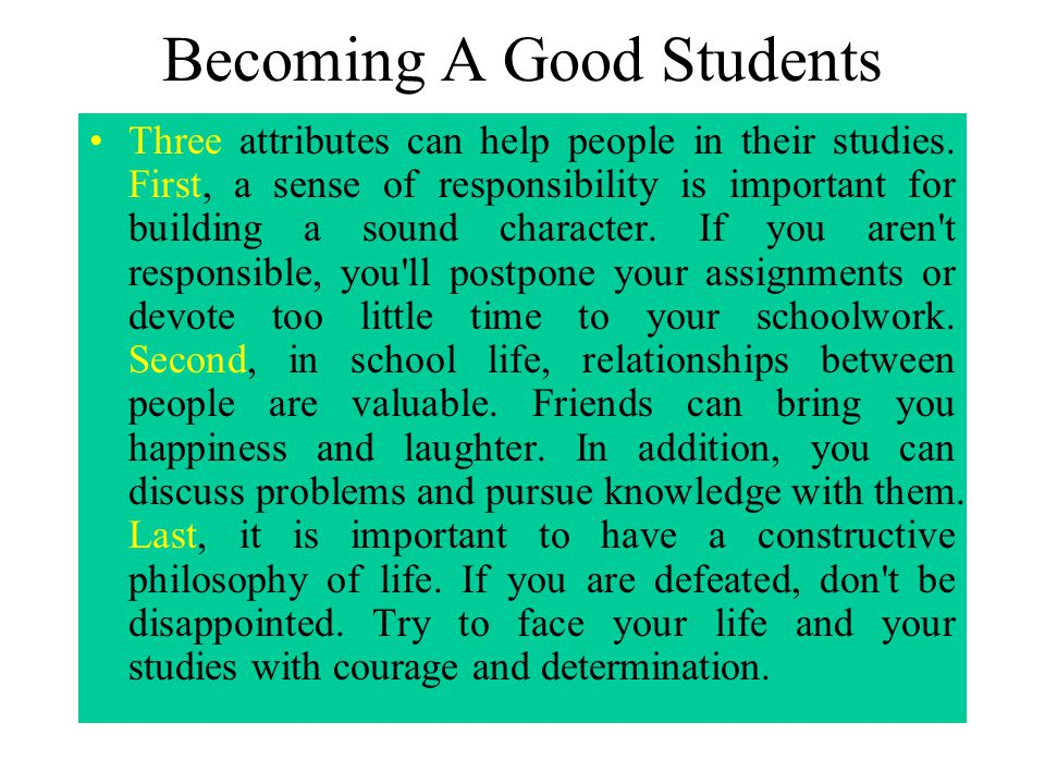 Becoming A Good Students