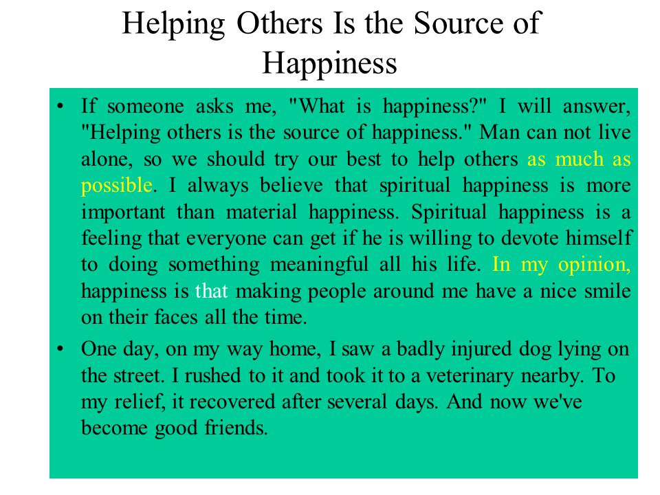 Helping Others Is the Source of Happiness