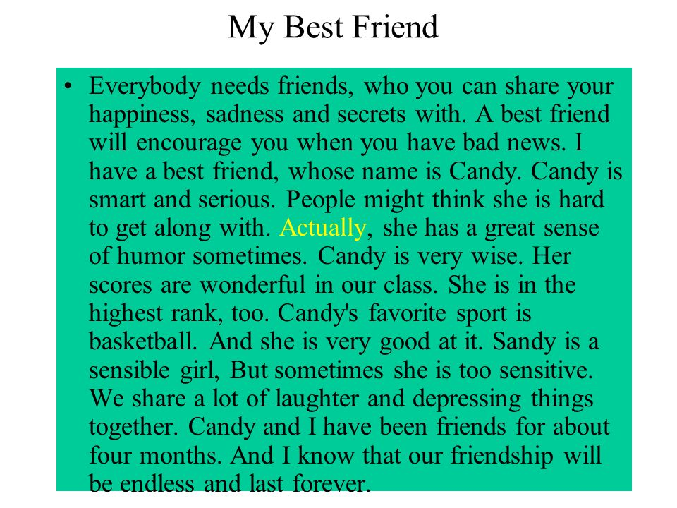 My best friend essay for class 8 in english