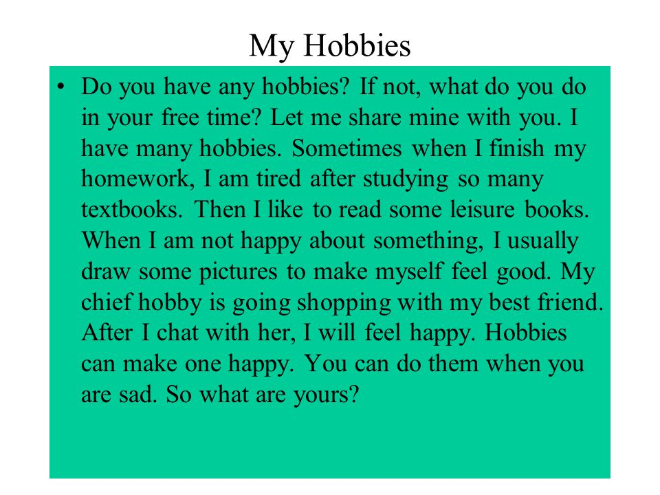 about my hobby in essay
