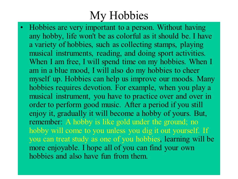 My hobbies essay