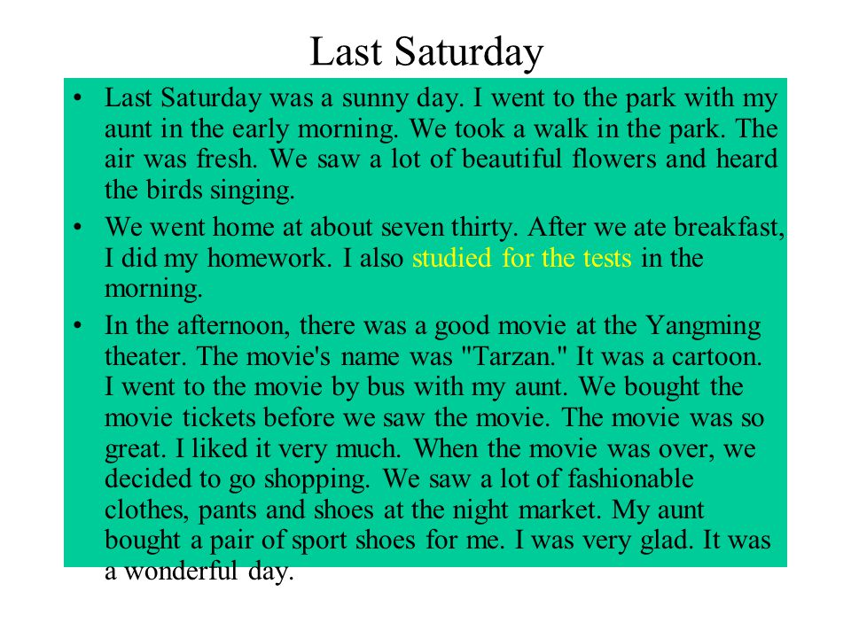 Last Saturday