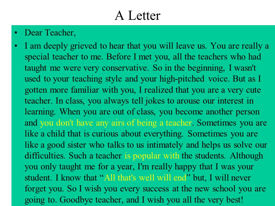 A Letter Dear Teacher,