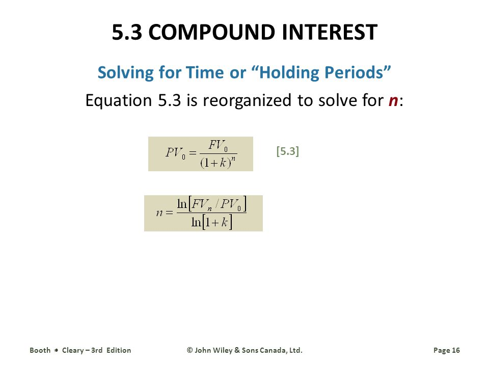 Solving for Time or Holding Periods