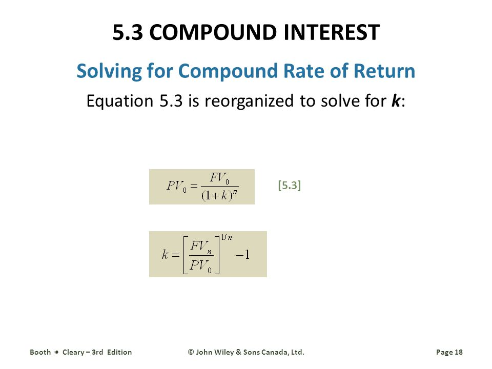 Solving for Compound Rate of Return