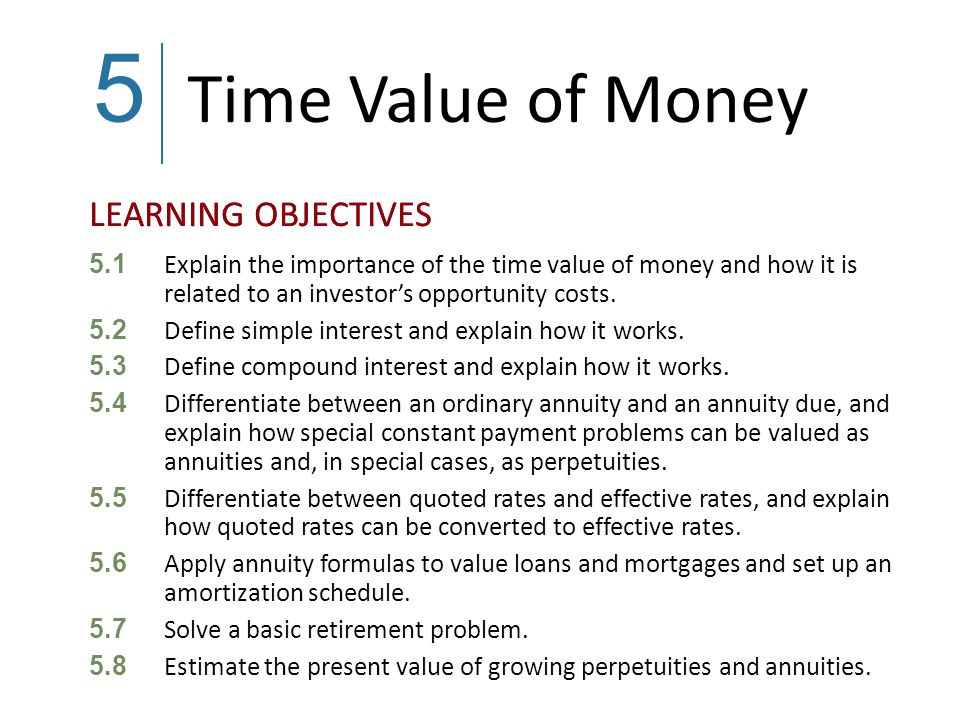 5 Time Value of Money. 5.1 Explain the importance of the time value of money and how it is related to an investor's opportunity costs.