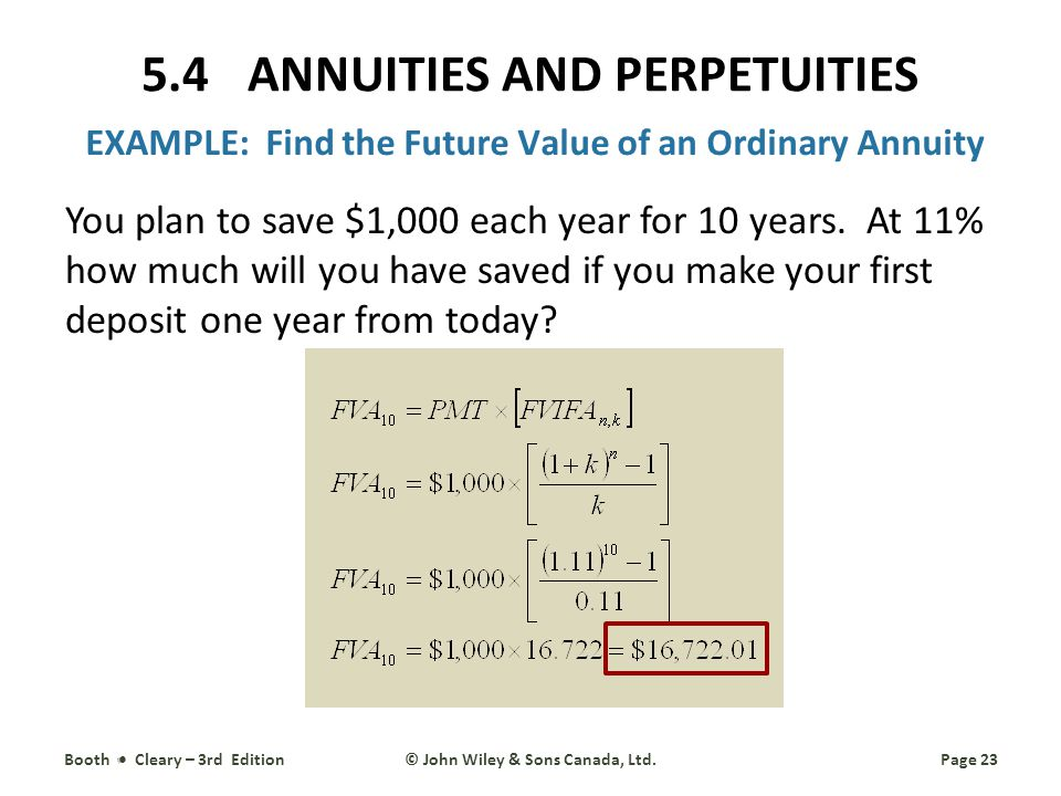 EXAMPLE: Find the Future Value of an Ordinary Annuity