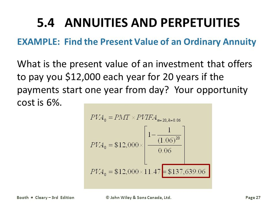 EXAMPLE: Find the Present Value of an Ordinary Annuity