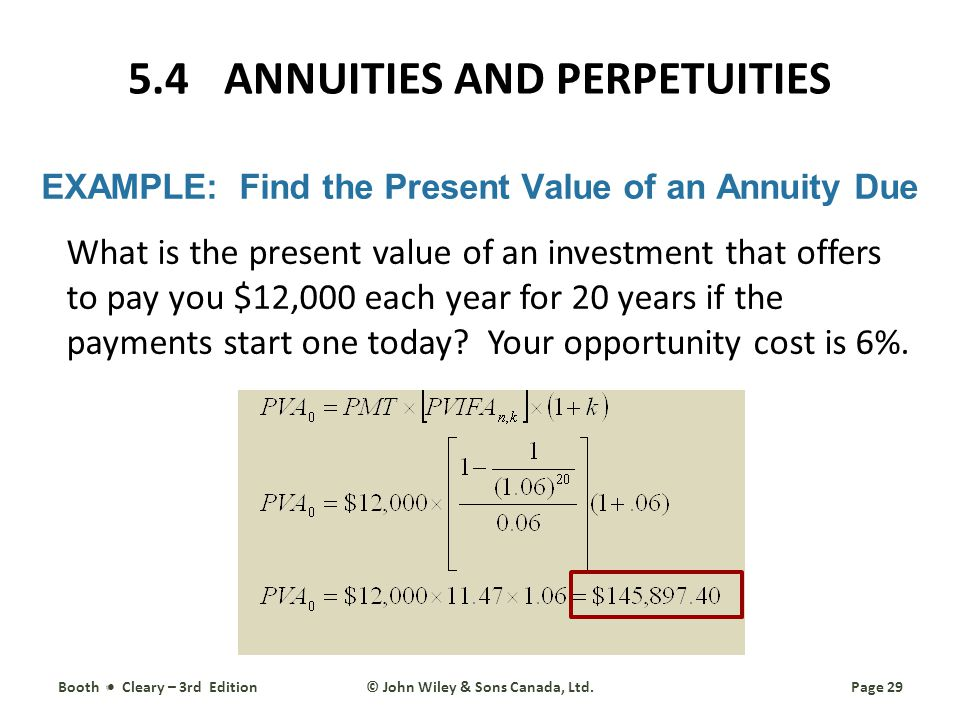 EXAMPLE: Find the Present Value of an Annuity Due