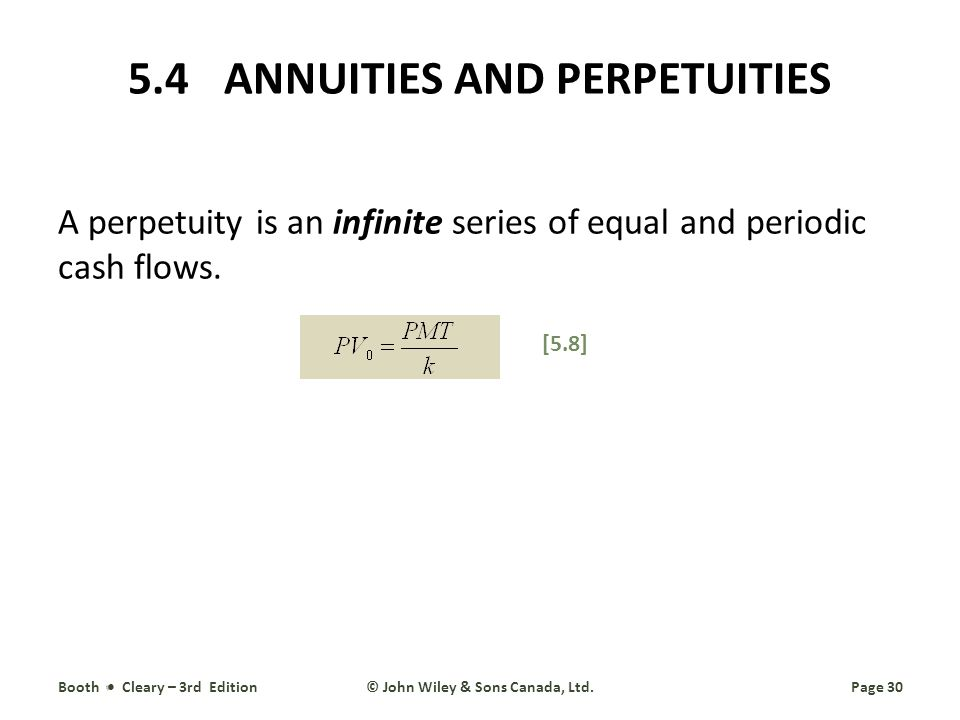 5.4 ANNUITIES AND PERPETUITIES