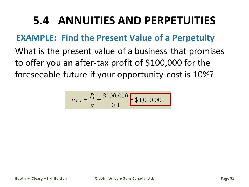 EXAMPLE: Find the Present Value of a Perpetuity