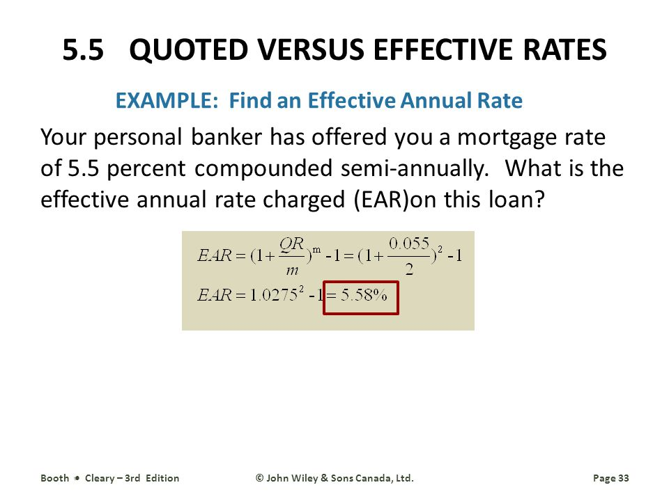 EXAMPLE: Find an Effective Annual Rate