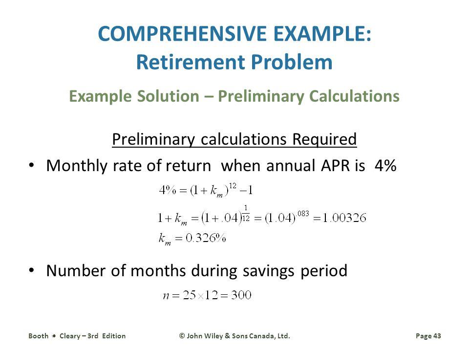 COMPREHENSIVE EXAMPLE: Retirement Problem