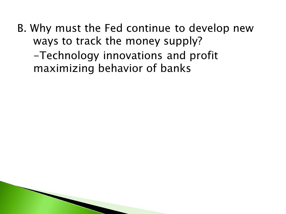 B. Why must the Fed continue to develop new ways to track the money supply.
