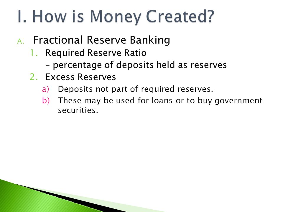 I. How is Money Created Fractional Reserve Banking