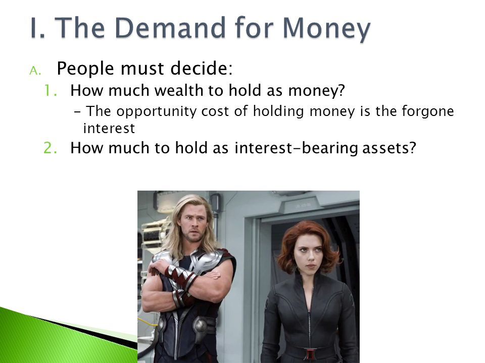 I. The Demand for Money People must decide: