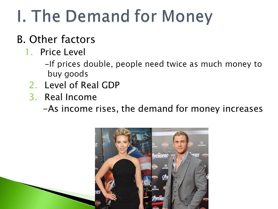 I. The Demand for Money B. Other factors Price Level Level of Real GDP