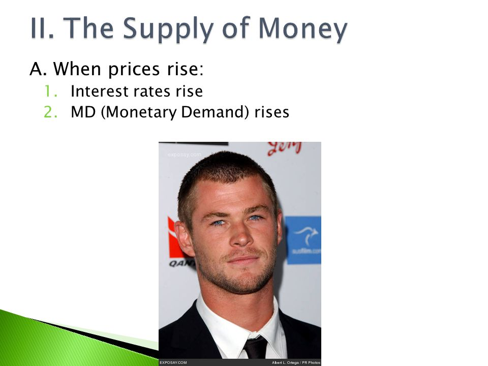 II. The Supply of Money A. When prices rise: Interest rates rise