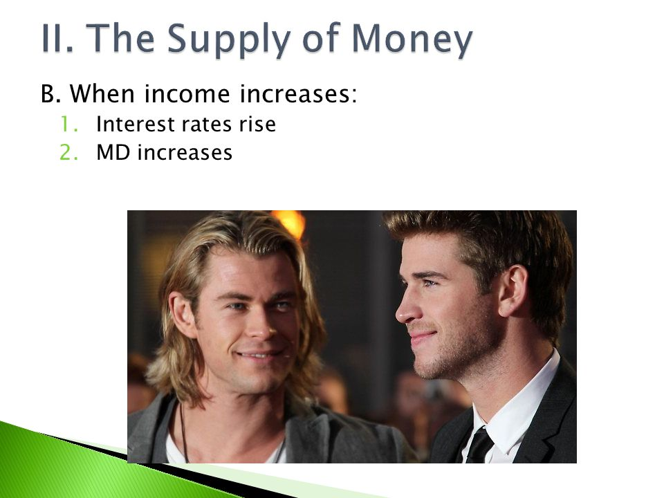 II. The Supply of Money B. When income increases: Interest rates rise