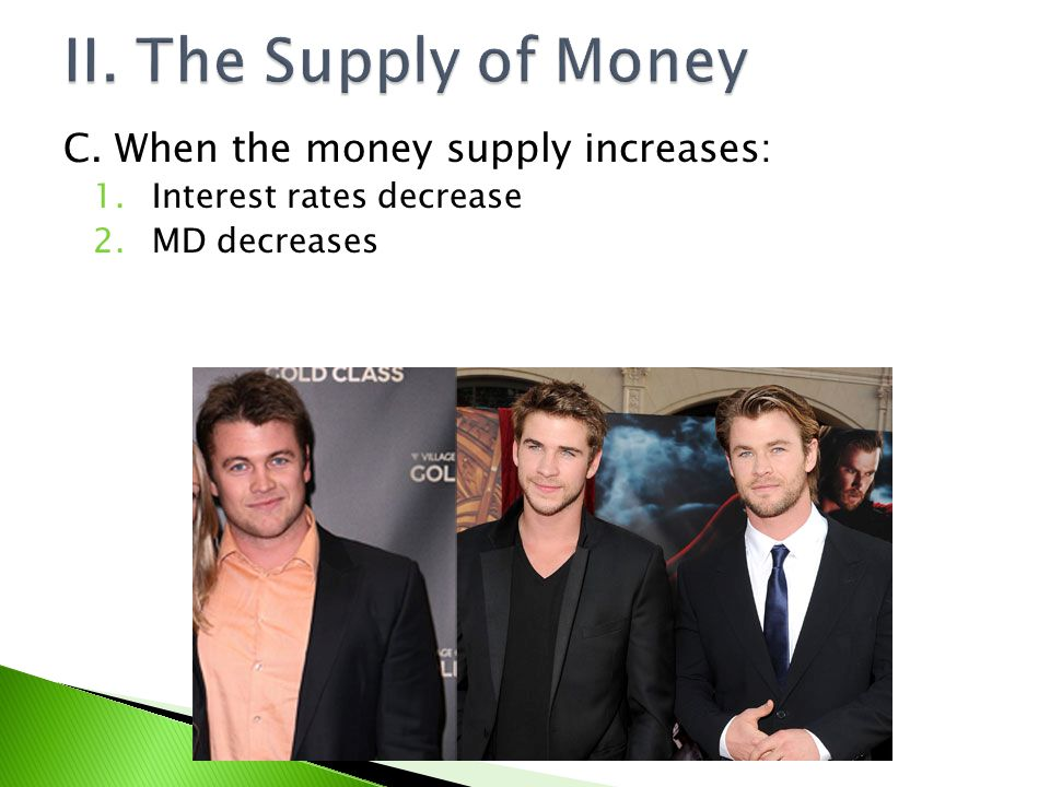 II. The Supply of Money C. When the money supply increases: