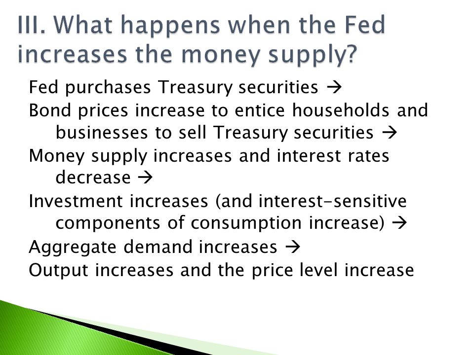 III. What happens when the Fed increases the money supply