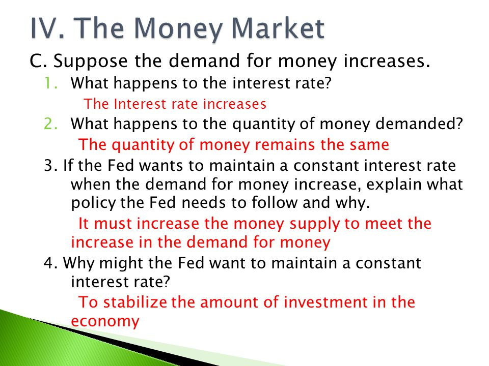 IV. The Money Market C. Suppose the demand for money increases.