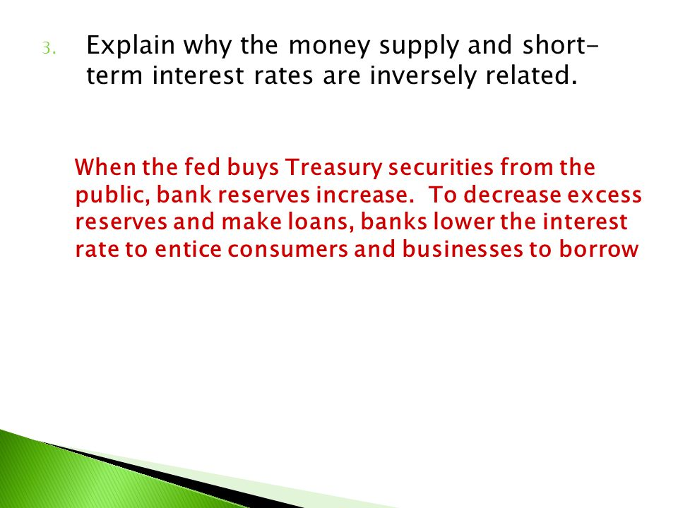 Explain why the money supply and short- term interest rates are inversely related.