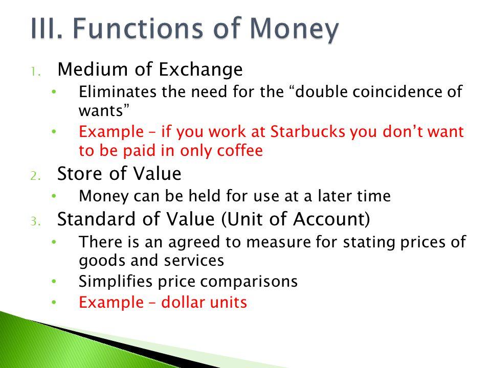 III. Functions of Money Medium of Exchange Store of Value