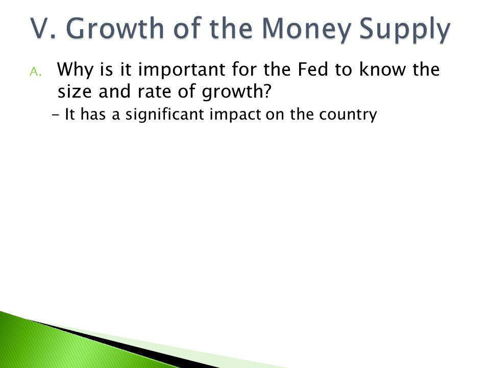 V. Growth of the Money Supply