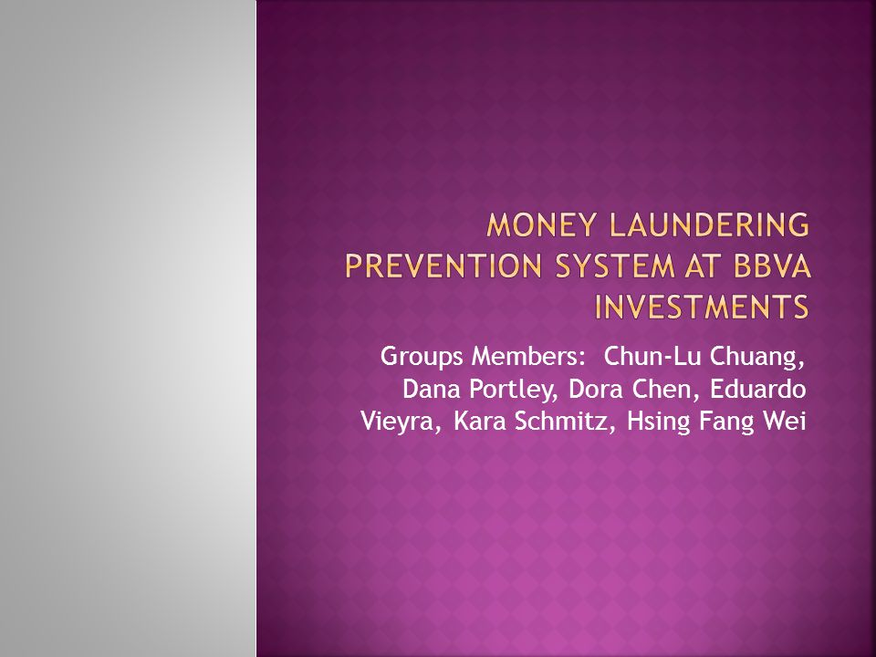money laundering Prevention system at BBVA Investments