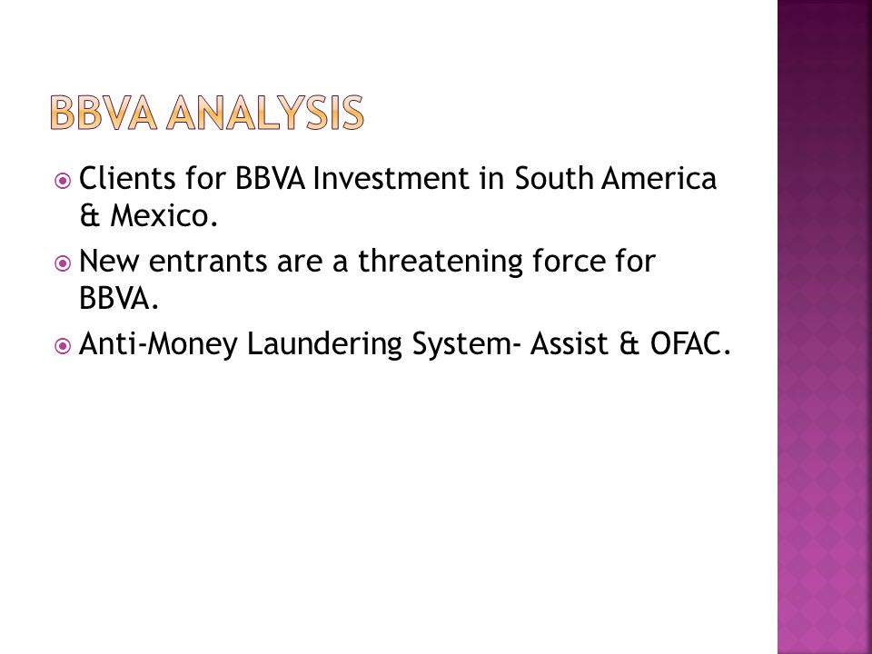 BBVA analysis Clients for BBVA Investment in South America & Mexico.