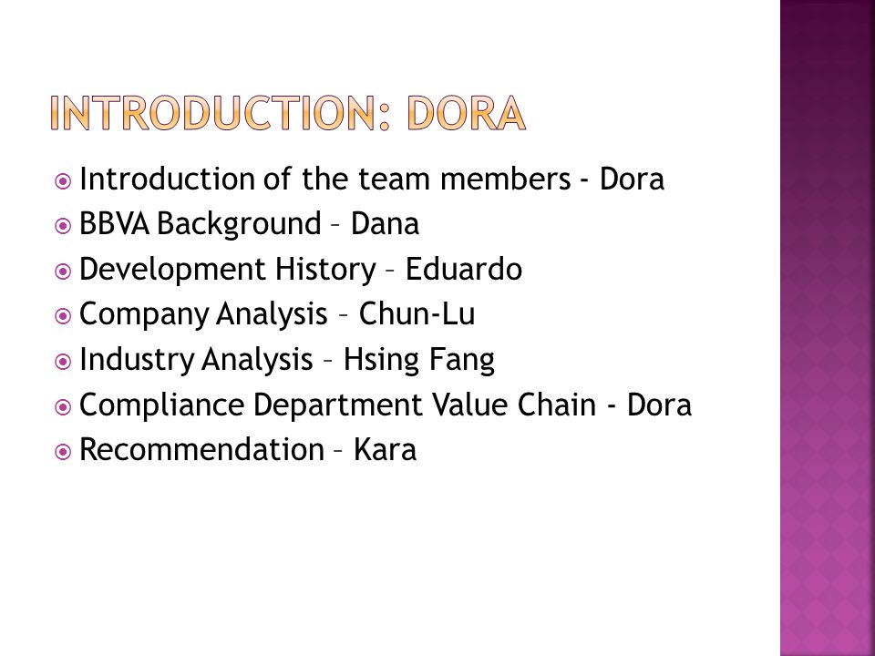 Introduction: Dora Introduction of the team members - Dora