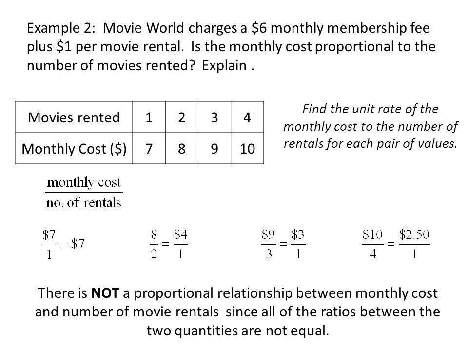 Example 2: Movie World charges a $6 monthly membership fee plus $1 per movie rental. Is the monthly cost proportional to the number of movies rented Explain .