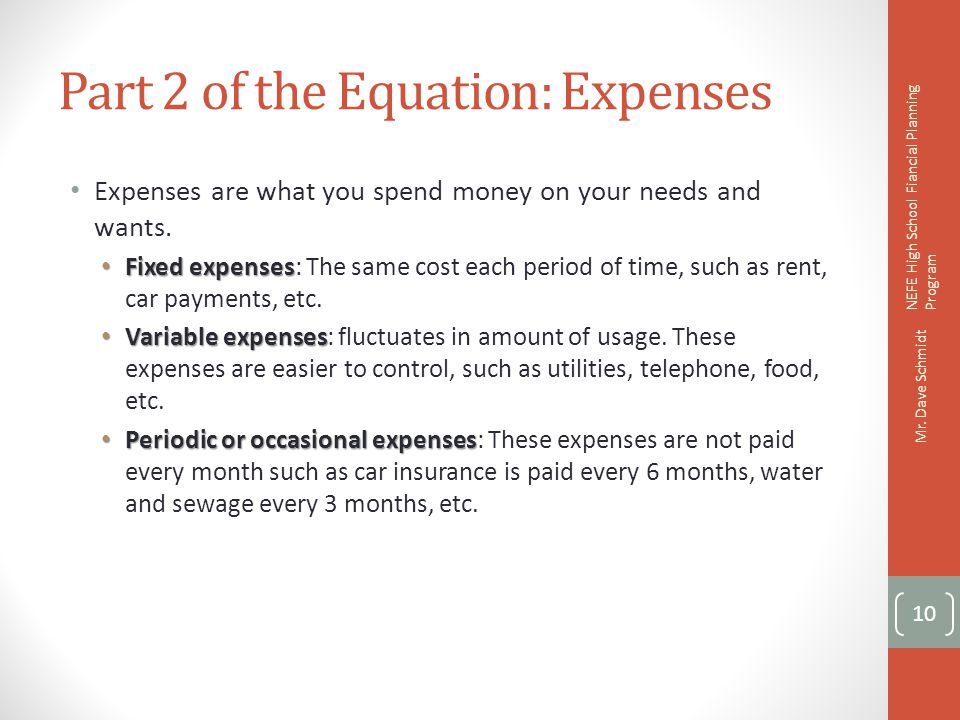 Part 2 of the Equation: Expenses
