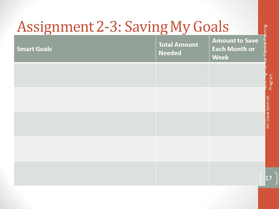 Assignment 2-3: Saving My Goals